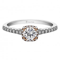 CAITHNESS ROUND HALO ENGAGEMENT RING WITH 0.30ct H-SI ROUND BRILLIANT CENTER