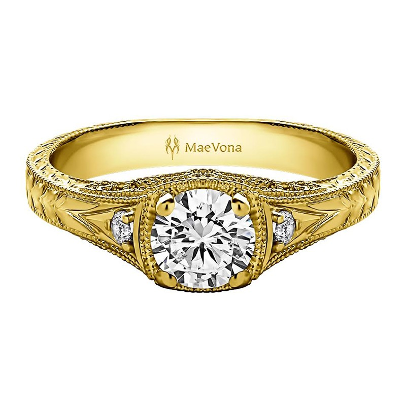 GREENOCK VINTAGE ROUND ENGAGEMENT RING WITH 0.40ct H-SI ROUND CENTER