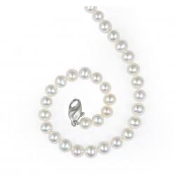 Sterling Silver 7-8MM White ASP Freshwater Cultured Pearl 18