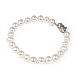 Sterling Silver 7-8MM White ASP Freshwater Cultured Pearl 7