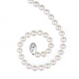 Sterling Silver 8-9MM White ASP Freshwater Cultured Pearl 18