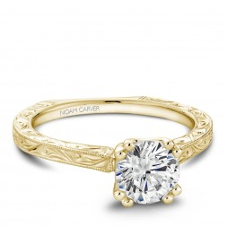 Noam Carver Engraved Yellow Gold Engagement Ring With Round Center Diamond