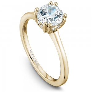 Noam Carver Yellow Gold Engagement Ring With Round Centerpiece And 8 Diamonds
