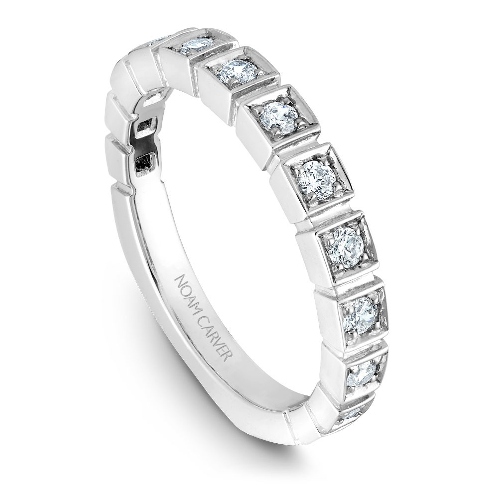 Noam Carver White Gold Matching Band With 13 Diamonds