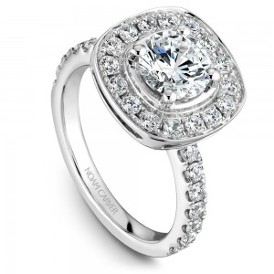 Noam Carver White Gold Engagement Ring With Cushion Halo And 30 Diamonds