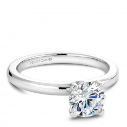 Noam Carver White Gold Peg Head Semi Mount Solitaire Engagement Ring with Diamond Accents (0.04 CTW)