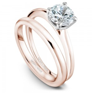 Noam Carver Rose And White Gold Engagement Ring With Round Centerpiece