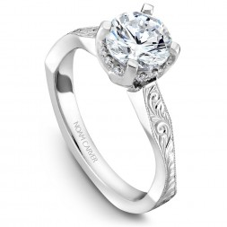 Noam Carver Engraved White Gold Engagement Ring With 12 Diamonds