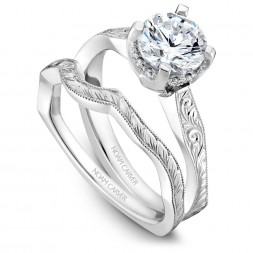 Noam Carver Engraved White Gold Matching Band