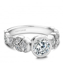 Noam Carver White Gold Engagement Ring With Round Centerpiece And 16 Round Diamonds On Detailed Floral Band