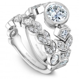 Noam Carver White Gold Matching Band With 27 Diamonds