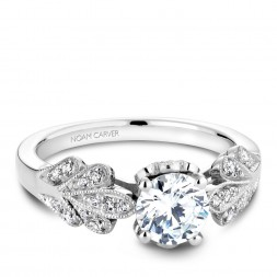 Noam Carver White Gold Floral Engagement Ring With Round Centerpiece And 34 Round Diamonds