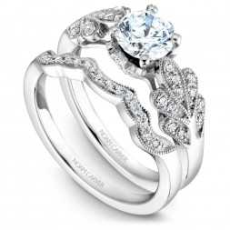 Noam Carver White Gold Matching Band With 16 Diamonds