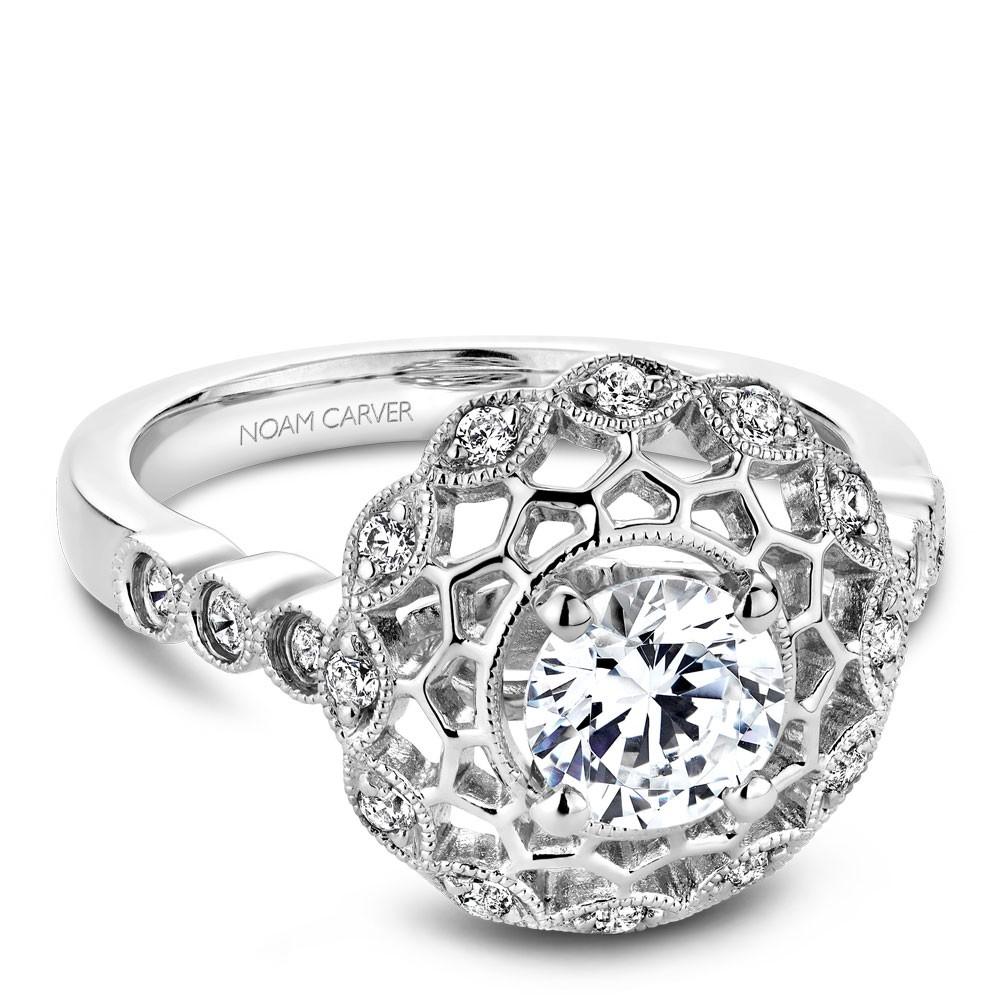Noam Carver White Gold Engagement Ring With Floral Halo And 18 Round Diamonds