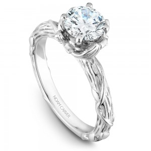 Noam Carver White Gold Engagement Ring With Round Centerpiece, 2 Diamonds On Setting And Floral Band