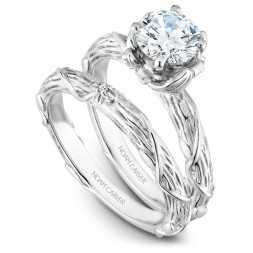 Noam Carver White Gold Matching Band With 1 Diamond