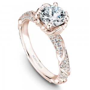 Noam Carver Rose Gold Engagement Ring With Round Centerpiece And Floral Band Dazzled With 100 Diamonds
