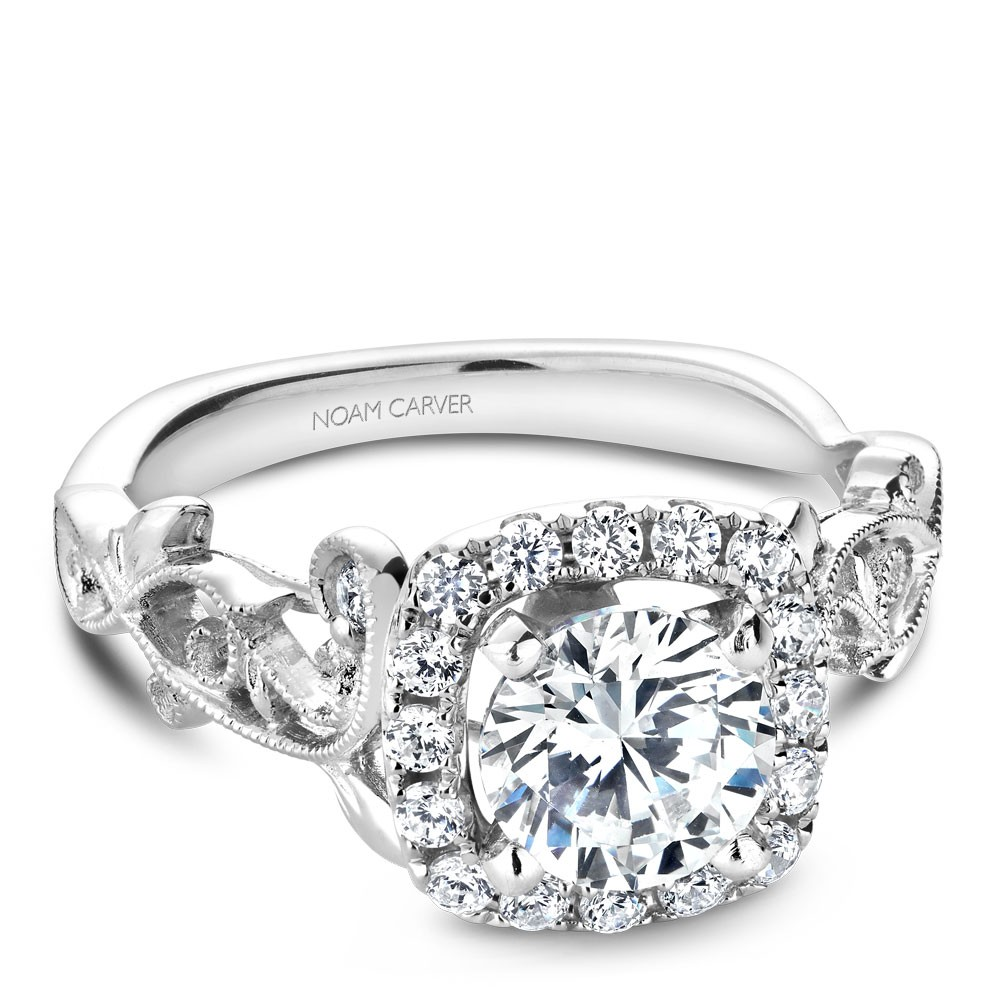 Noam Carver White Gold Engagement Ring With Cushion Halo, 18 Round Diamonds And Detailed Floral Band