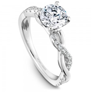Noam Carver White Gold Engagement Ring With Twist Band And 24 Round Diamonds