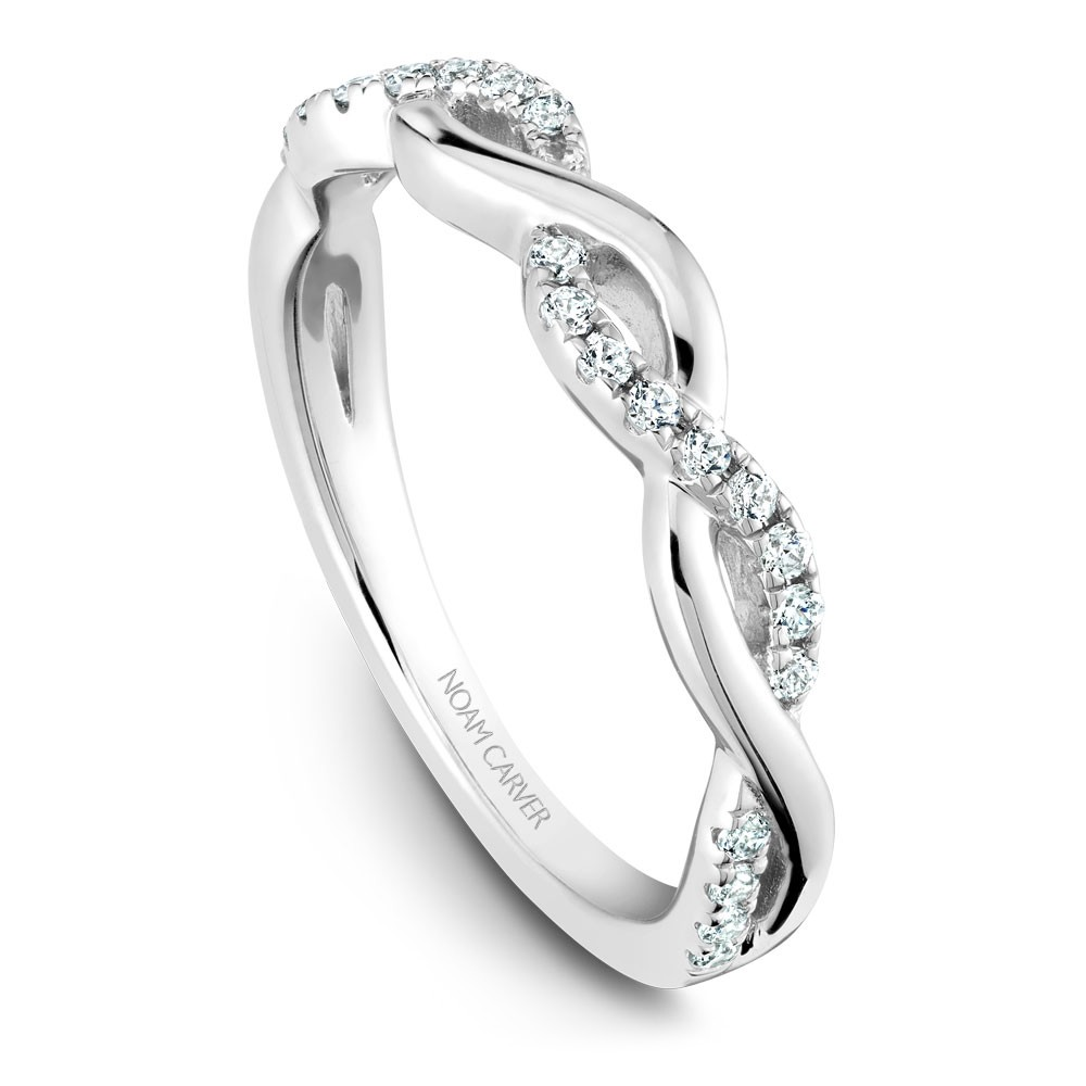 Noam Carver White Gold Matching Band With 26 Diamonds
