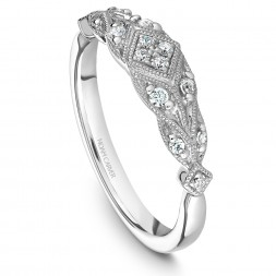 Noam Carver White Gold Matching Band With 14 Diamonds