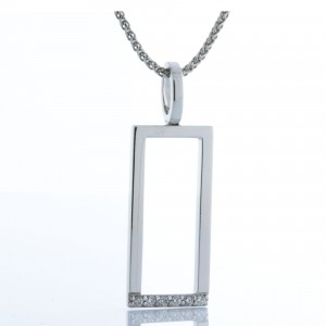14 kt White Gold Open Rectangle Diamond Necklace