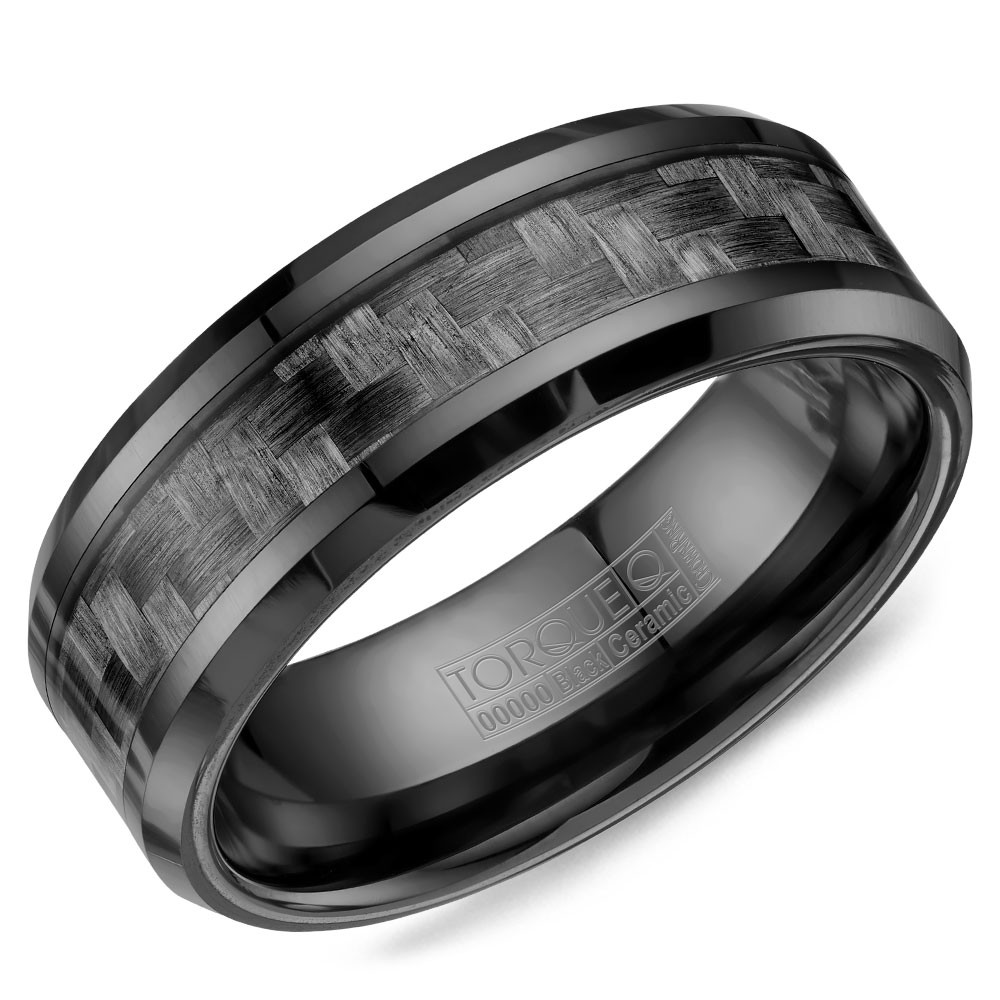 A Black Ceramic Torque Band With A Carbon Fiber Inlay.