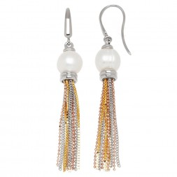 Bronze 8.5-9mm White Freshwater Cultured Pearl with Tri Tone Tassle Earrings
