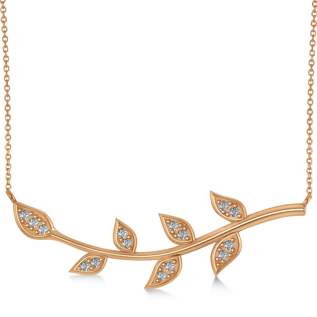 Diamond Olive Vine Leaf Necklace 14k Rose Gold (0.20ct)