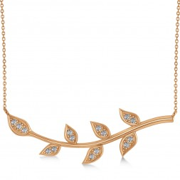 Diamond Olive Vine Leaf Necklace 14k Rose Gold (0.20ct)