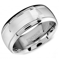 A White Cobalt Torque Band With A High Polished Finish And Line Detailing.
