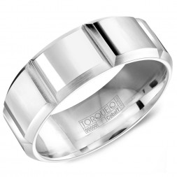 A White Cobalt Torque Band With Carved Detailing.