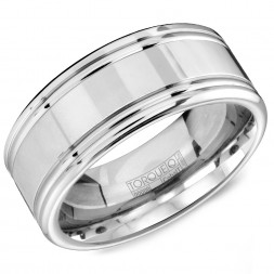 A White Cobalt Torque Band With Polished Edges And Line Detailing.