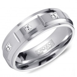 A White Cobalt Torque Band With 3 Diamonds And Notch Detailing.