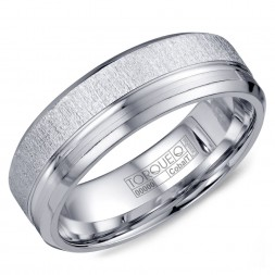 A White Cobalt Torque Band With Textured And Line Detaling.