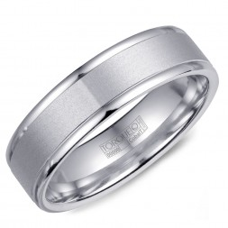 A White Cobalt Torque Band With A Sandpaper Finish And Polished Edges.