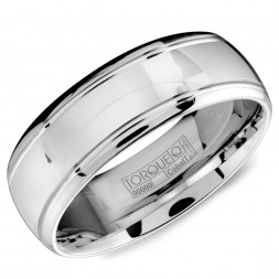A White Cobalt Torque Band With A High Gloss Polish And Line Detailing.