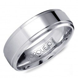 A White Cobalt Torque Band With A Polished Center And Line Detailing.