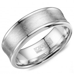 A White Cobalt Torque Band With With A Brushed Finish And Polished Edges.