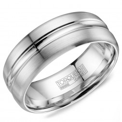 A White Cobalt Torque Band With A Brushed Finish And A High Polish Inlay.