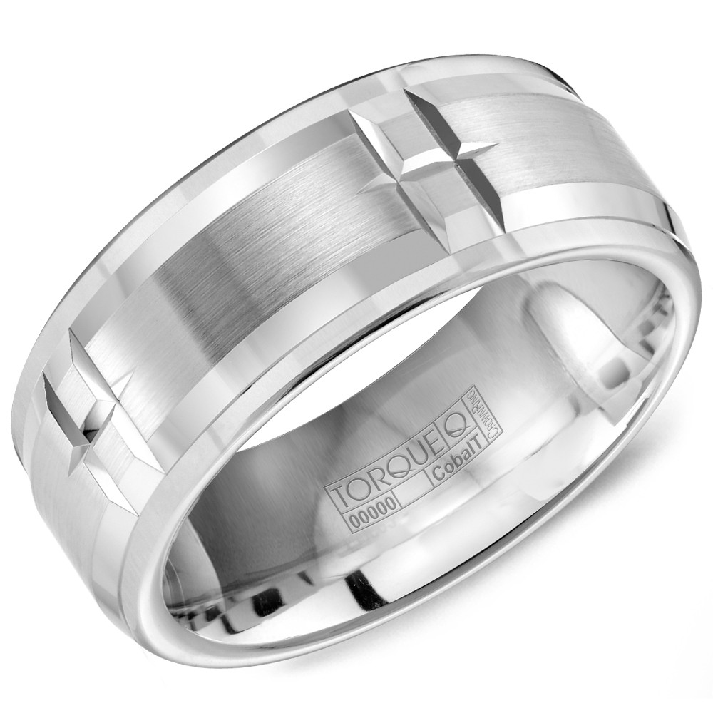 A White Cobalt Torque Band With Line Pattern Details.
