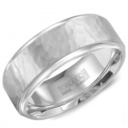 A White Cobalt Torque Band With A Hammered Center And Polished Edges.