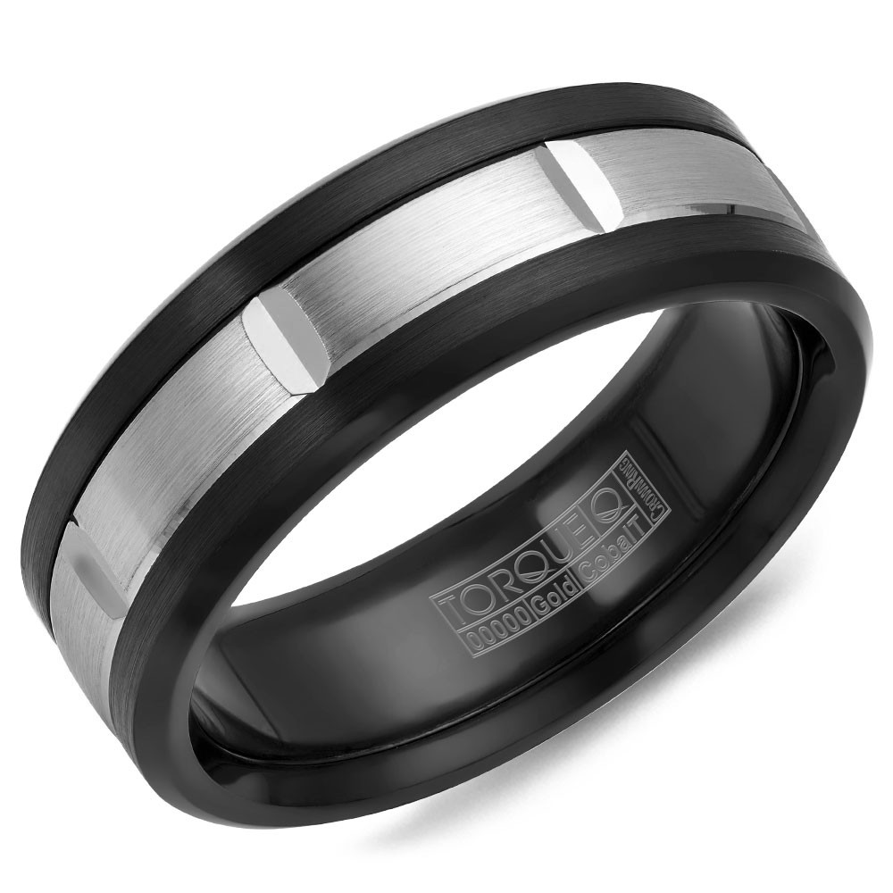 A Black Cobalt Torque Band With A White Gold Inlay.