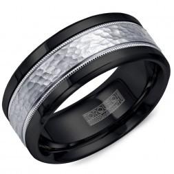 A Black Cobalt Torque Band With A Hammered White Gold Inlay.
