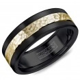 A Black Cobalt Torque Band With A Hammered Yellow Gold Inlay.