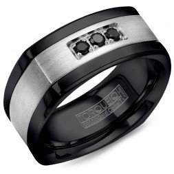 A Black Cobalt Torque Band With A Brushed White Gold Inlay Featuring Three Black Diamonds.