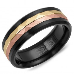 A Black Cobalt Torque Band With A Yellow And Rose Carved Gold Center.