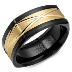 A Black Cobalt Torque Band With A Yellow Carved Gold Center.