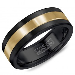 A Black Cobalt Torque Band With A Yellow Gold Inlay.