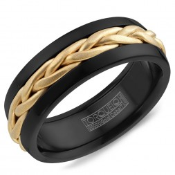 A Black Cobalt Torque Band With A Braided Yellow Gold Center.